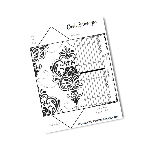 cash envelopes - black & white