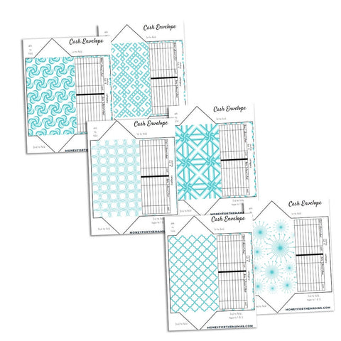 cash envelopes - turquoise geometric