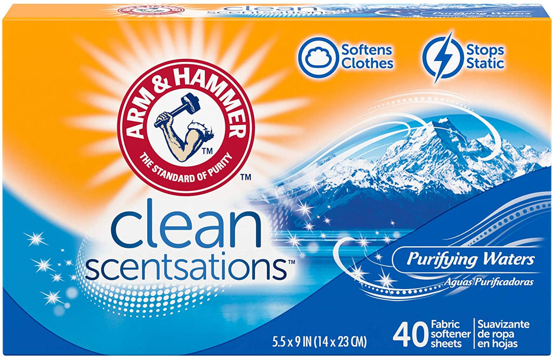 ARM & HAMMER Fresh'n Soft Fabric Softening Sheets, Purifying Waters 40 ct