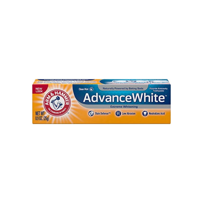 ARM & HAMMER Advance White Extreme Whitening Baking Soda & Peroxide Toothpaste (Travel Size), Fresh Mint 0.90 oz