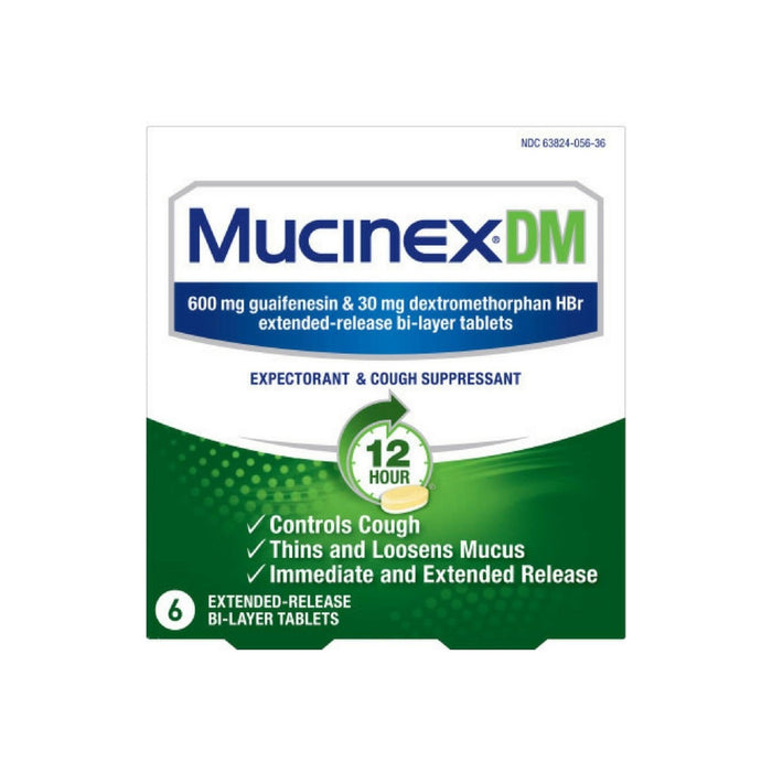 Mucinex DM 12-Hour Expectorant and Cough Suppressant Tablets, 6 ct