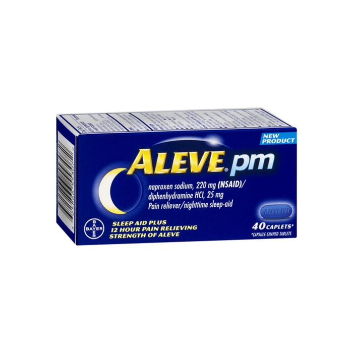 Aleve PM Pain Reliever Nighttime Sleep-Aid Caplets, 40 ea