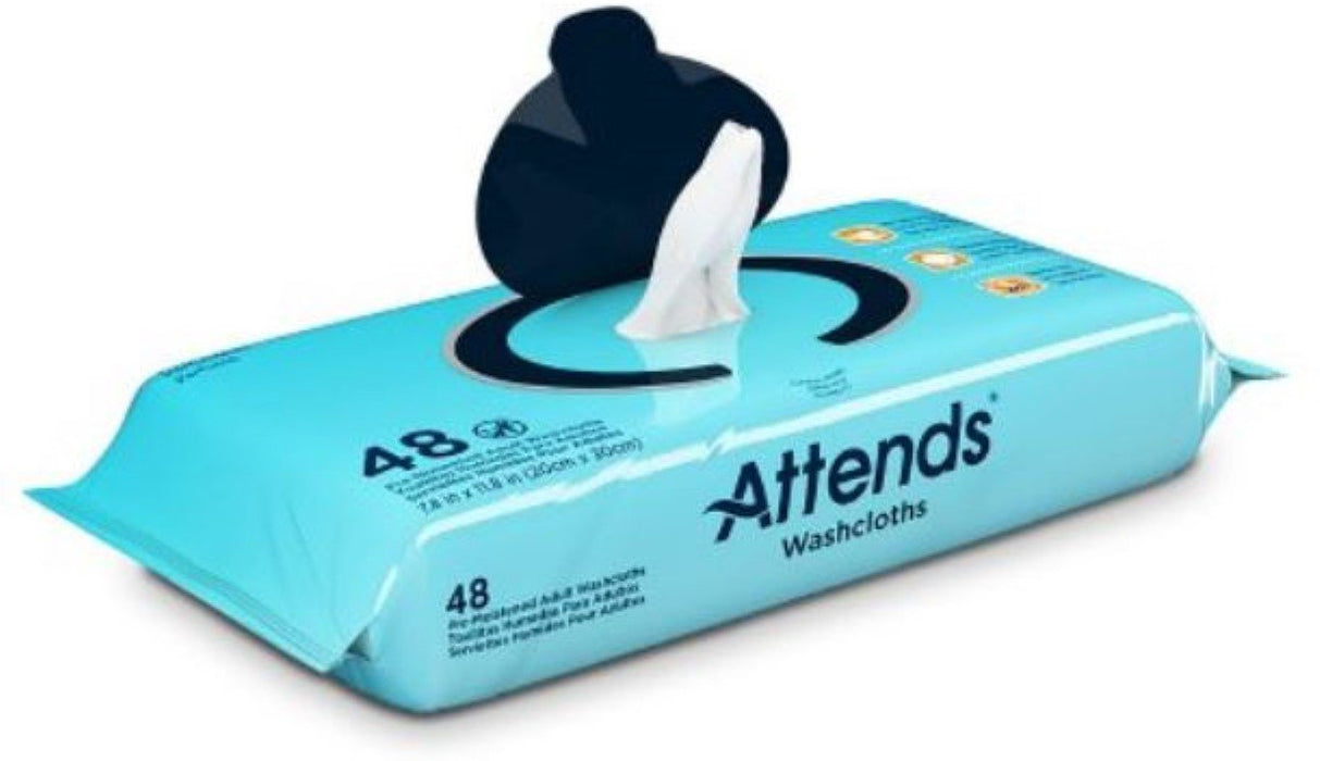 Attends Scented Washcloths for Adult Incontinence Care, Hypoallergenic, Latex and Alcohol Free 48ct ,12 Count
