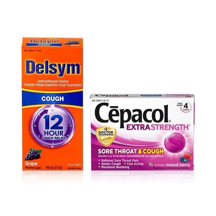Delsym Adult 12 Hr Cough Relief Liquid, Grape 5 oz & Cepacol Extra Strength Sore Throat & Cough Drop Lozenges, Mixed Berry 16 ea 1 ea