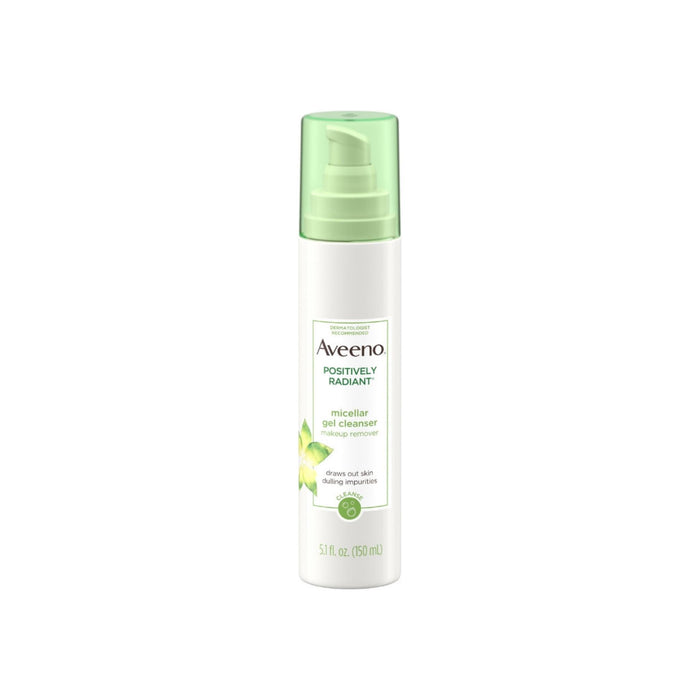 AVEENO Positively Radiant Hydrating Micellar Gel Facial Cleanser with Moisture Rich Soy & Kiwi Complex, Hypoallergenic 5.1  oz