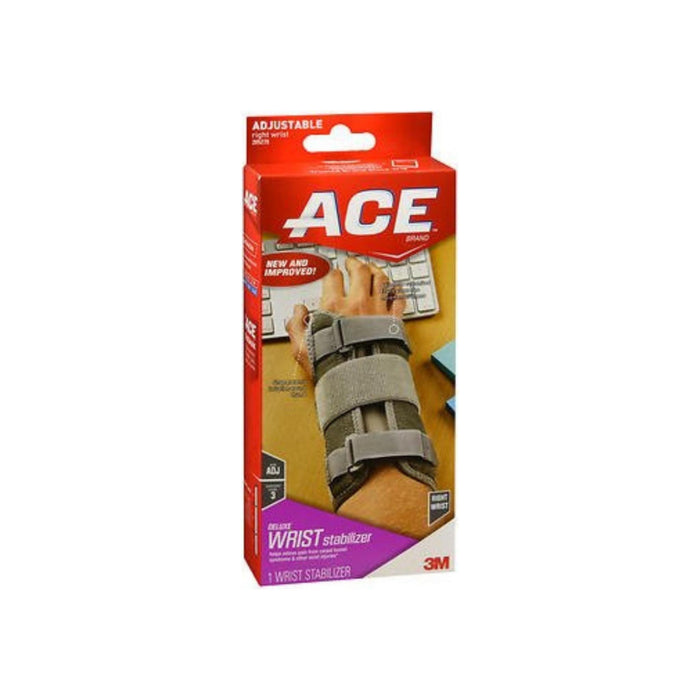 Ace Deluxe Right Wrist Stabilizer Adjustable Brace, Gray 1 ea