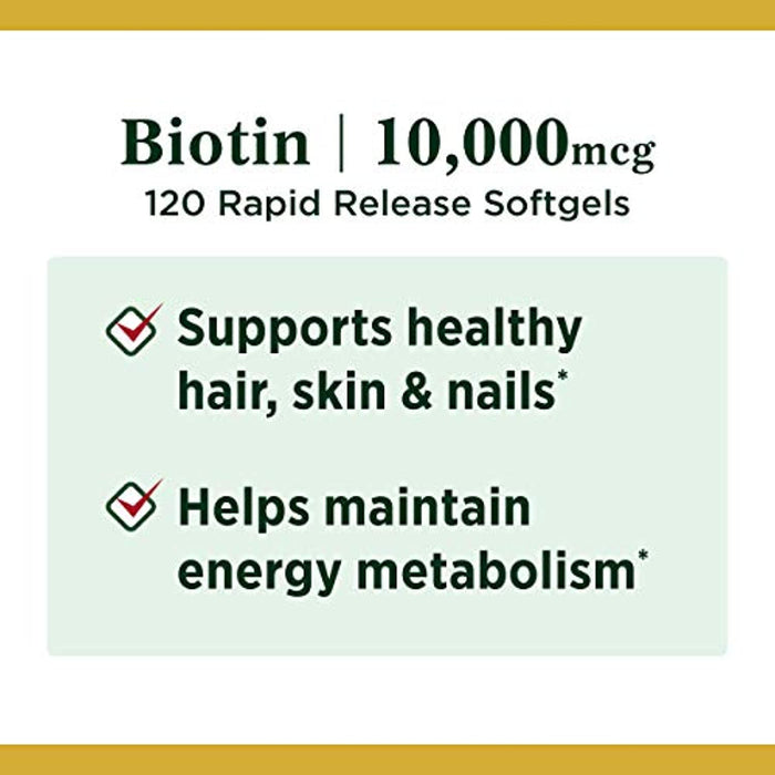Biotin by Nature's Bounty, Vitamin Supplement, Supports Metabolism for Energy and Healthy Hair, Skin, and Nails, 10000 mcg, 120 Rapid Release Softgels