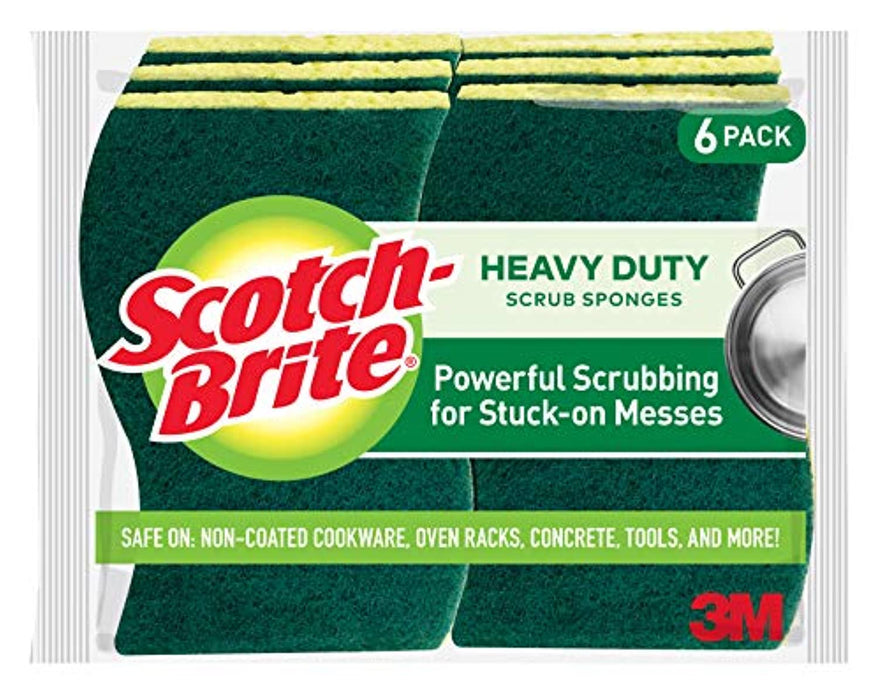 Scotch-Brite Heavy Duty Scrub Sponges, Powerful Scrubbing for Stuck-on Messes, 6 Scrub Sponges