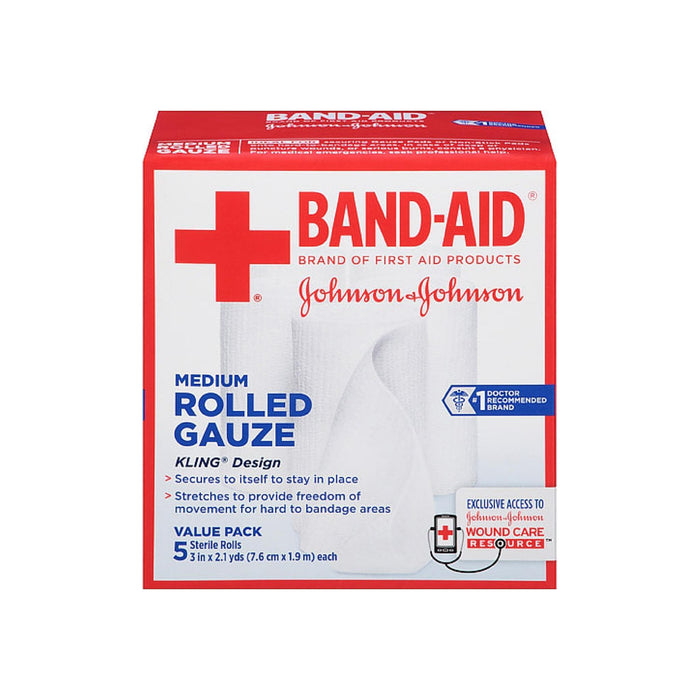 BAND-AID First Aid Rolled Gauze Sterile Roll, Medium 5 ea