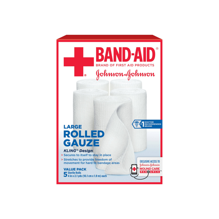 BAND-AID First Aid Rolled Gauze Sterile Roll, Large 5 ea