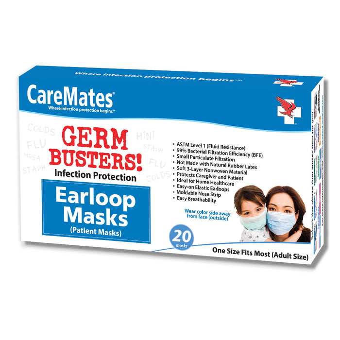 CareMates GERM BUSTERS 3- Ply Disposable Face Mask. 20ct BESTSELLER!