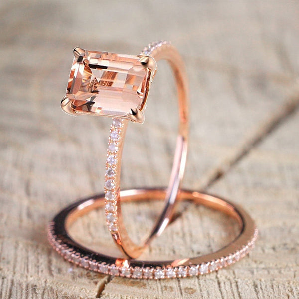 2Pcs Ring/Set Rose Gold Filled White Crystal Zircon Ring