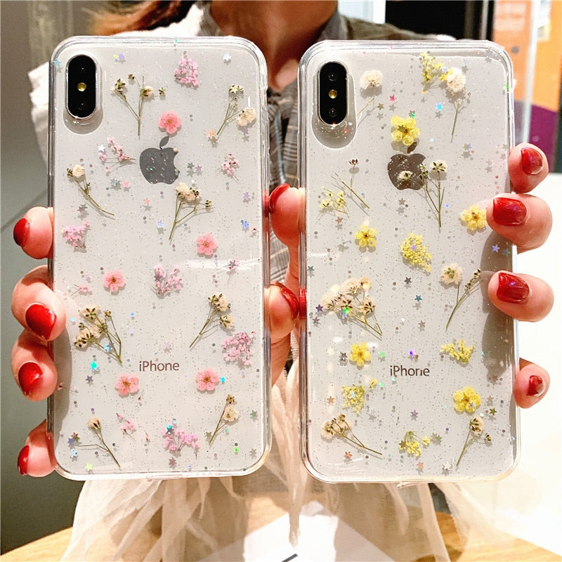 Real Dry Flower Glitter Clear Case For iPhone