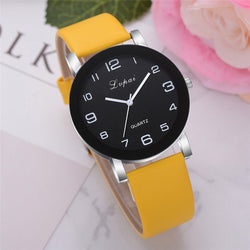 Fashion Casual Leather Band Analog Wristwatch