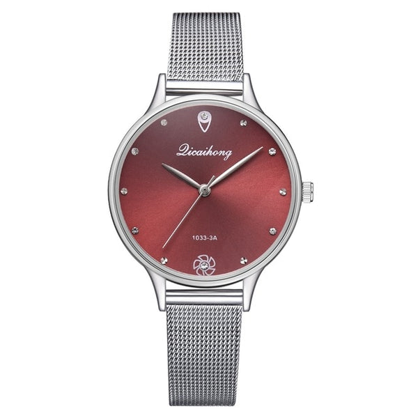 Women Fashion Metal Silver Belt Dress Watch