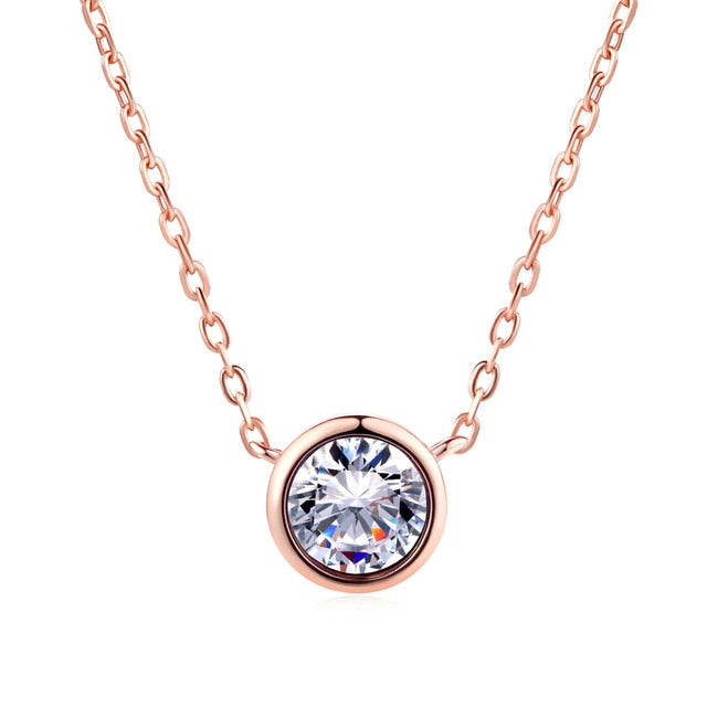 Small Round 1 carat Cubic Zirconia Pendant Necklace