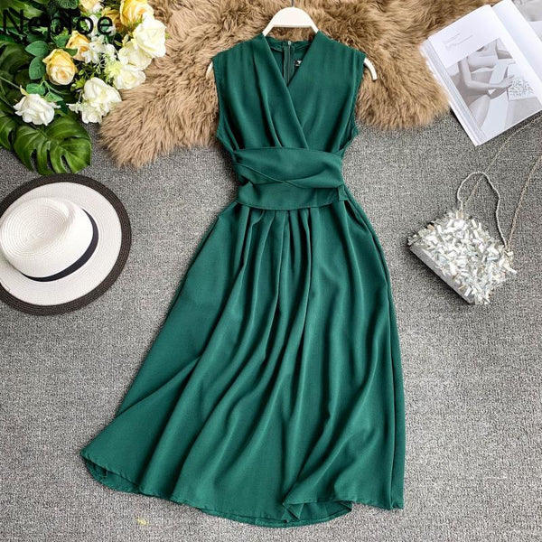Drawstring Slim Waist Dress