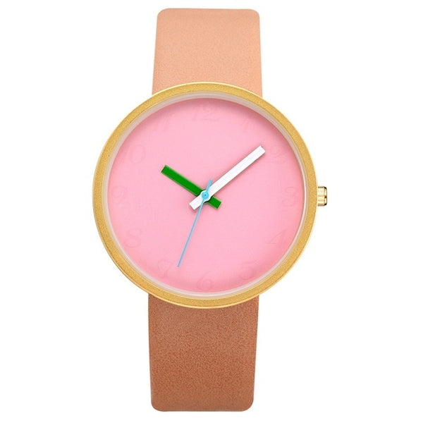 Women Gray Contrast Leather Quartz Watch