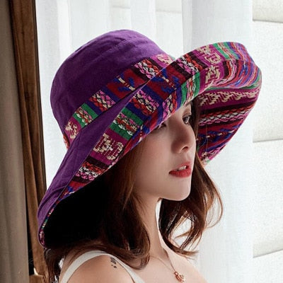 Women Double sided irregular Pattern Bucket Hat