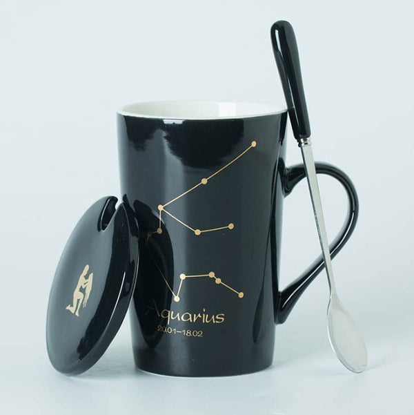 12 Constellations Creative Mugs with Spoon Lid