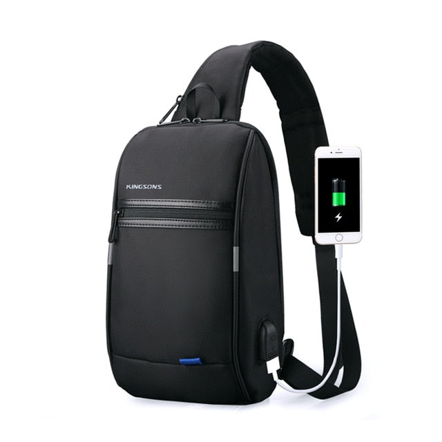 Men One strap USB Charging Chest Bag