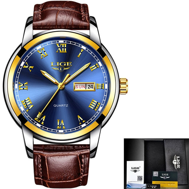 Fashion Luxury Leather Business Waterproof Watch