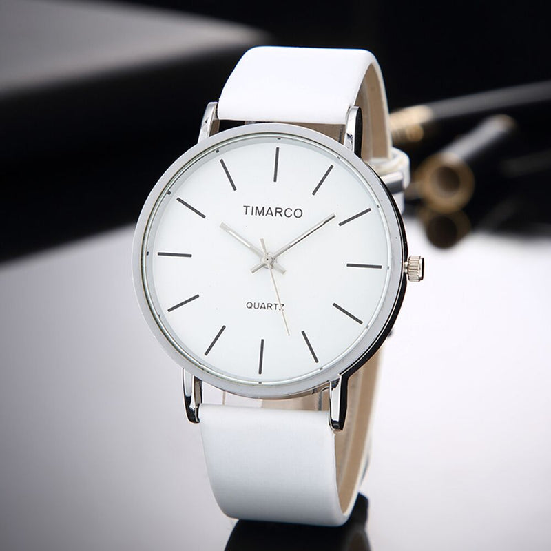 Women Simple Style White Leather Watch