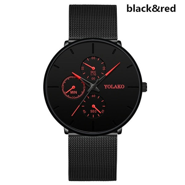 Men Casual Slim Mesh Steel Waterproof Sport Watch