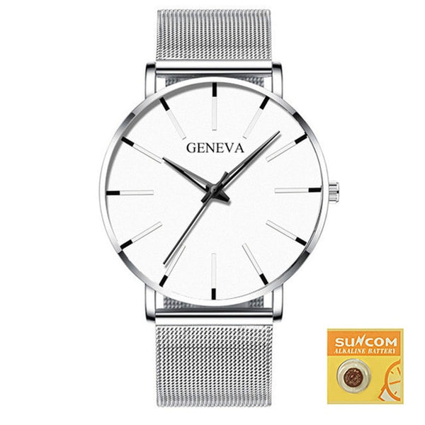 Men Casual Slim Black Mesh Steel Wrist Sport Watch