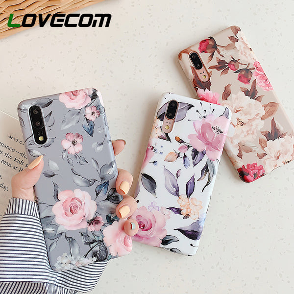 Retro Floral Leaf Phone Case With Holder For Huawei