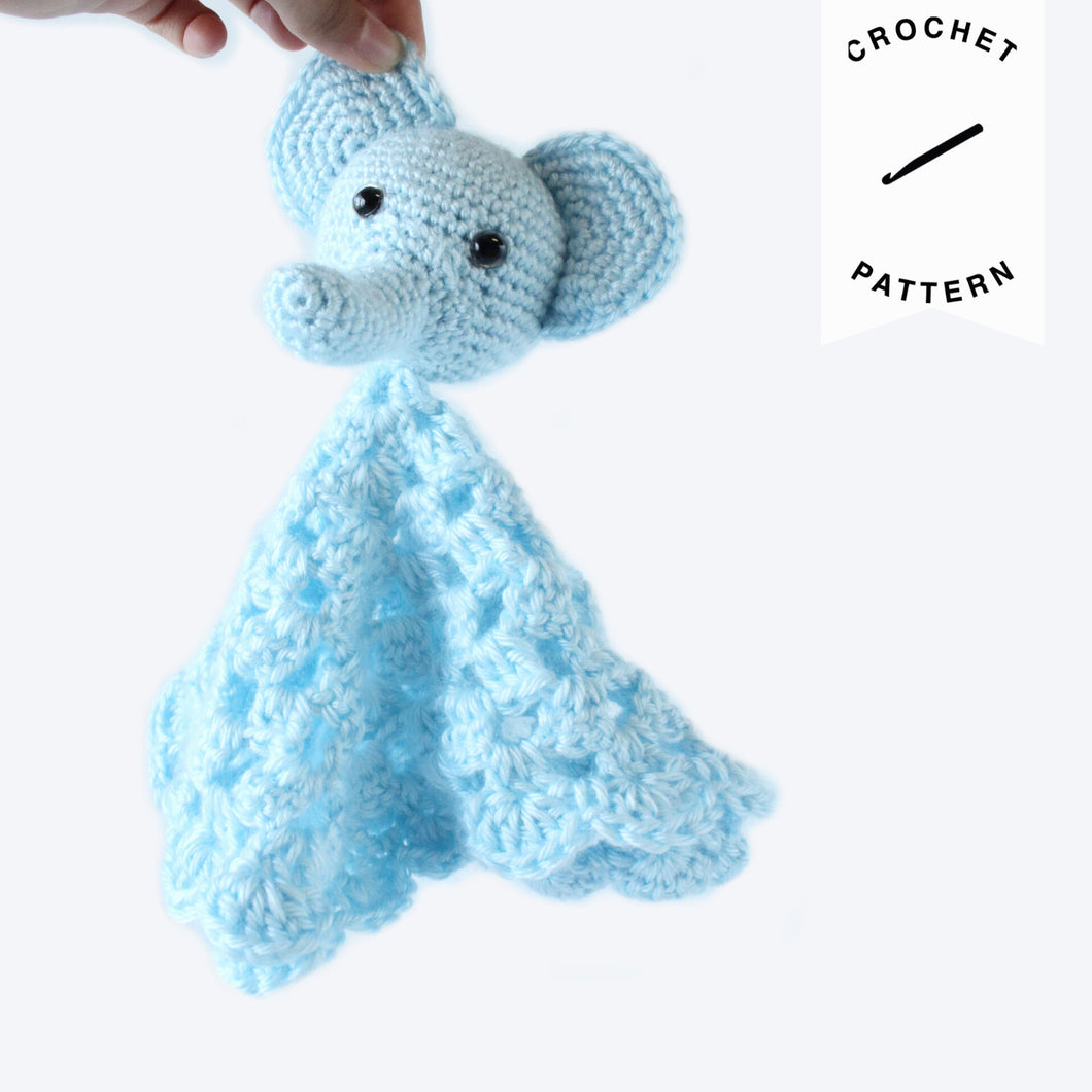 Blue Elephant Lovey - Crochet Pattern