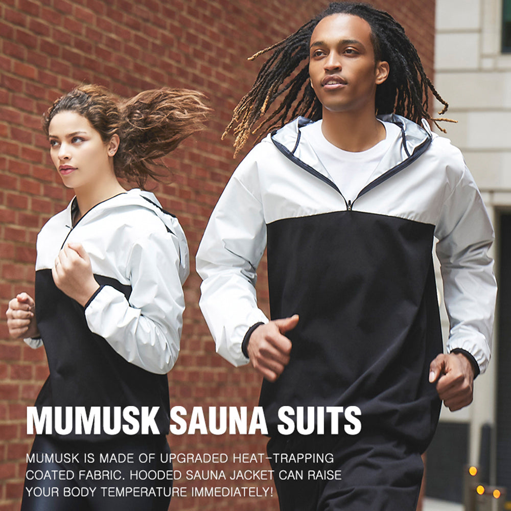 MUMUSK Sauna Suit for Men and Women, Sweat Suit Gym Workout Weight Loss Slim Fitness Clothes