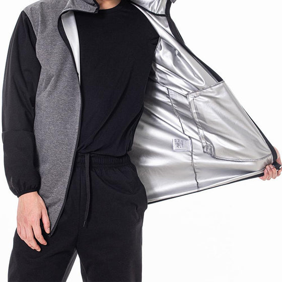 MUMUSK Sauna Suit Men Full Zip Hoodie Jacket Gray - MUMUSK