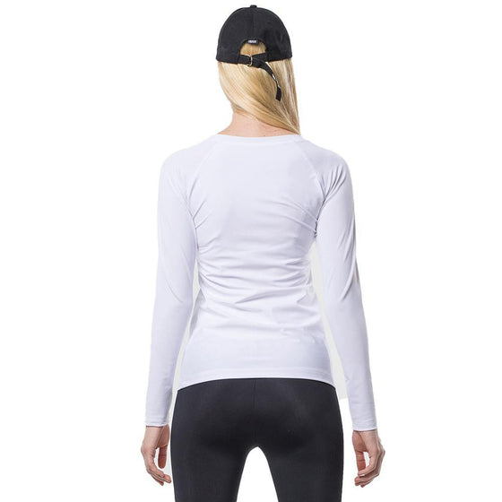 POINT FIXE Round Long Sleeve White Yoga Sweatshirt