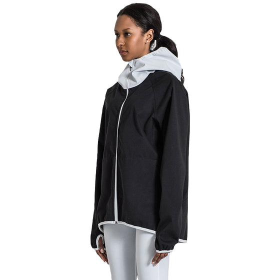 MUMUSK Women Full Zip Hoodie Sauna Fitness Jacket Black