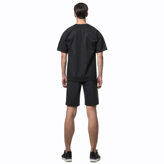 MUMUSK Sauna Suit Men Crew Neck Short Shirt and Pants Black - MUMUSK
