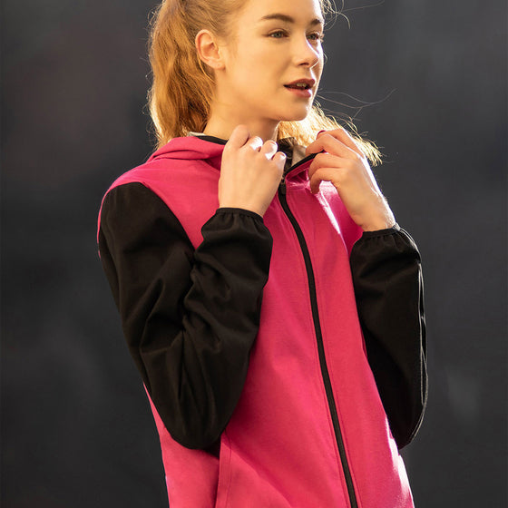 MUMUSK Women Sauna Suit Full Zip Hoodie Jacket Pink