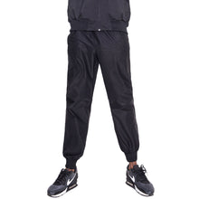 MUMUSK Men Silver Coated Jogger Sauna Pants Black