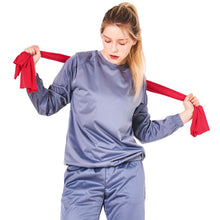 POINT FIXE Women Sauna Suits Crew Neck Long Sleeve Gray