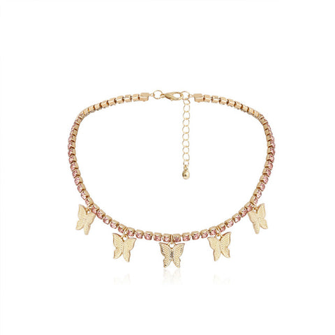 Crystal Floating Butterfly Choker