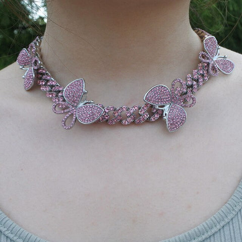 Crystal Butterfly Cuban Chocker