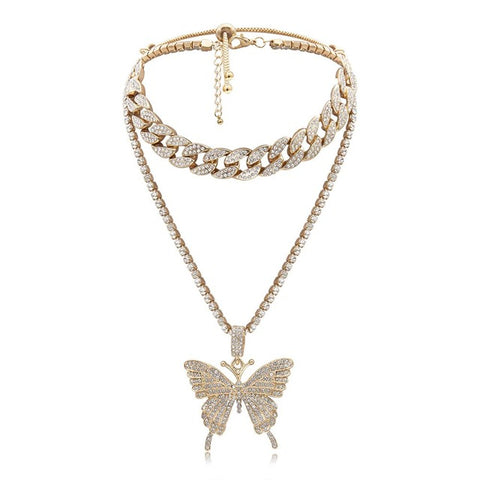 Crystal Butterfly Pendant Chain and Choker