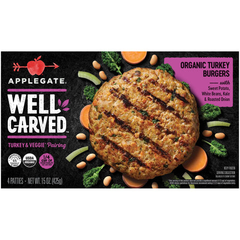 Applegate® Well Carved™ Organic Turkey & Veggie Burgers 15 oz. Box - Earth's Basket