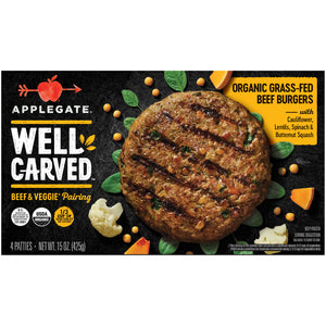 Applegate® Well Carved™ Organic Grass-Fed Beef & Veggie Burgers 15 oz. Box - Earth's Basket