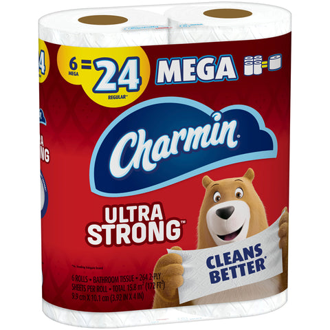 Charmin Ultra Strong Toilet Paper 6 Mega Roll, 264 Sheets Per Roll
