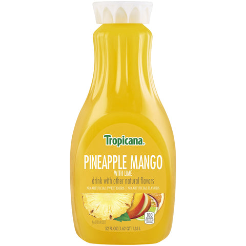 Tropicana Drink Pineapple Mango with Lime 52 Fl Oz Bottle - Earth's Basket