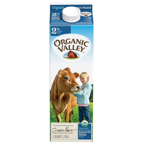 Organic Valley Milk -- 2% Reduced Fat Milk 1 Quart - Earth's Basket