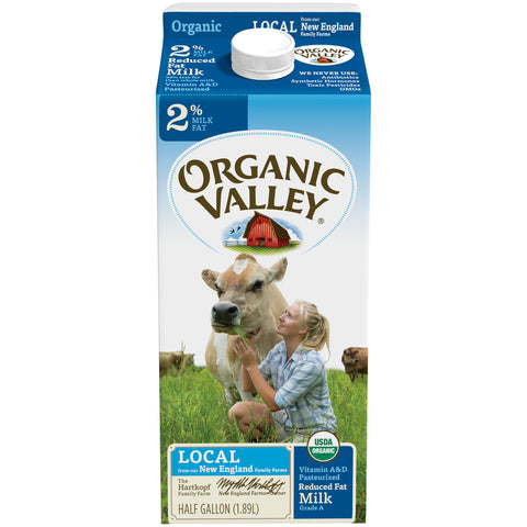 Organic Valley Milk -- 2% Reduced Fat Milk Half Gallon - Earth's Basket