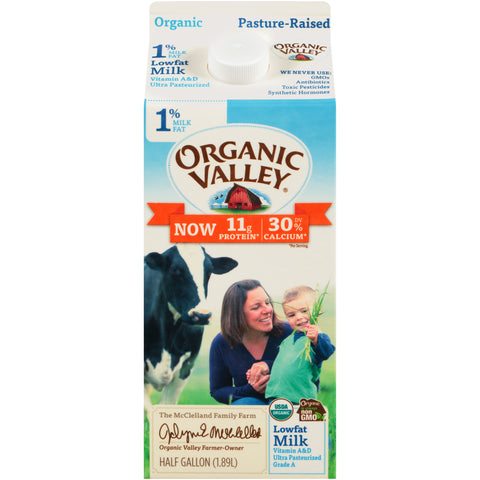Organic Valley Milk -- 1% Lowfat Milk Half Gallon - Earth's Basket