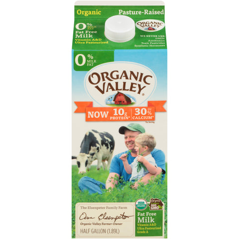 Organic Valley Milk -- 0% Fat Free Milk Half Gallon - Earth's Basket
